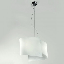 Lampadario CO-FACE 771 45S E27 LED 45CM moderna vetro cristallo bianco satinato tonda interno IP20