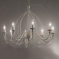 ID-CORTE lustre SP8 E14 multiluce blanc antique suspension artisanale en métal à l'intérieur IP20