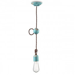 FE-VINTAGE RETRO 'C660 E27 Suspension de lustre en céramique à LED avec suspension de tresse interne rustique