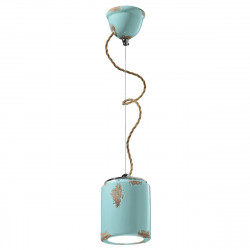 FE-VINTAGE RETRO C984 E27 Lustre LED, suspension en céramique artisanale, tresse interne rustique