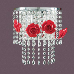 Applique PD-PRISCILLA 216 A E14 LED cristallo rose porcellana colorata artigianale lampada parete moderna interno