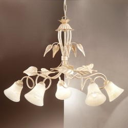 Lustre DP-TOSCA S5 E14 LED fer blanc bruni cloche verre suspension florale classique