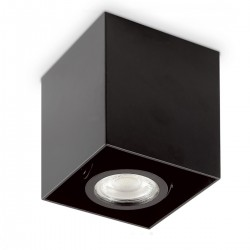 Faretto soffitto moderno Ideal Lux MOOD PL1 D09 SQUARE 140902 243948 GU10 28W LED spot orientabile bianco nero quadrato interno