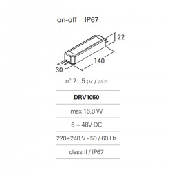 PN-MICRO DRV1050 IP67 alimentation externe courant constant 350mA